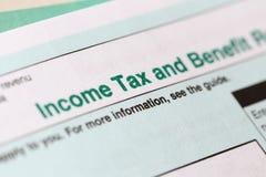 Налоговая форма подоходного налога Стоковая Фотография RF