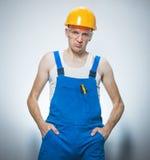 Надоеданный молодой работник конструкций Стоковое Изображение RF