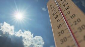 На открытом воздухе термометр достигает 40 40 градусов стоградусного 3D анимация прогноза погоды родственная сток-видео
