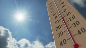 На открытом воздухе термометр достигает 5 5 градусов стоградусного 3D анимация прогноза погоды родственная сток-видео
