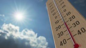На открытом воздухе термометр достигает минус 5 -5 стоградусное градусов 3D анимация прогноза погоды родственная иллюстрация вектора
