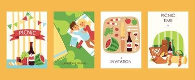 На открытом воздухе ilustration вектора карт приглашения времени picnoc Еда, bootle вина, watermalon, хлеба, томатов симпатично иллюстрация вектора