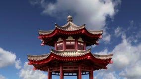 На пагоде гусыни территории гигантской одичалой или большой одичалой пагоде гусыни, буддийская пагода расположенная в южном Xian, сток-видео