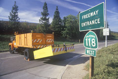 На-пандус к шоссе 118, в зоне Northridge Reseda Лос-Анджелеса, которое было закрытым следовать землетрясением 1994 Стоковая Фотография