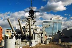 На палубе USS Wisconsin, стоковые изображения rf