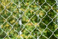На переднем плане плетение сетки гриля На заднем плане расплывчатое изображение листьев деревьев Стоковые Фотографии RF