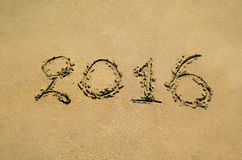 2016 на песке стоковые фотографии rf