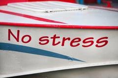 ` Надписи отсутствие ` стресса на шлюпке Стоковые Фотографии RF