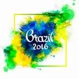 Надпись Бразилия 2016 на предпосылке Стоковое Изображение