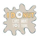 Надпись ' Донут care' с донутом Готовый шаблон для дизайна футболки, ткани, рекламы, etc Стоковая Фотография