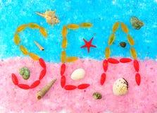 Надпись моря на розовом и голубом соли моря Стоковое фото RF