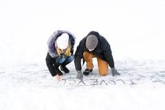 Надпись на снеге - я тебя люблю Стоковое фото RF