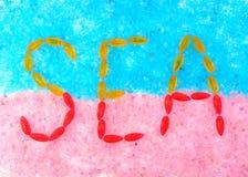 Надпись на соли моря Стоковое Изображение