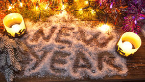Надпись & x22; Новое Year& x22; в снеге стоковая фотография rf