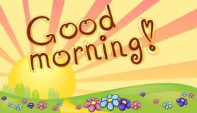 Надпись доброго утра в ландшафте восхода солнца Стоковые Фото