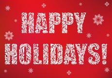 Надпись: Счастливые праздники на красной предпосылке Декоративный шрифт с свирлями и флористическими элементами иллюстрация штока