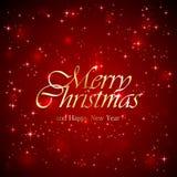 Надпись с Рождеством Христовым на красной предпосылке Стоковое Изображение RF