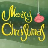Надпись с Рождеством Христовым, с шариком ` s Нового Года снежинок, снега и рождественской елки Стоковые Изображения RF