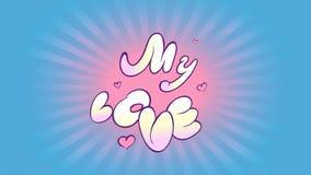 Надпись шаржа анимации о увлечении Яркое объявление влюбленности и розовых сердец на предпосылке radial сток-видео