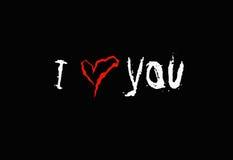 Надпись я тебя люблю на черной предпосылке Стоковое фото RF