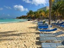 На пляже в Cancun, Юкатан, Мексика Стоковое фото RF