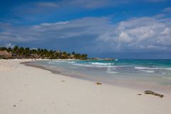 На пляже, Юкатан, Мексика Стоковая Фотография