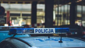 На польской полицейской машине стоковое изображение