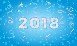 2018 на предпосылке зимы Шаблон карточки праздника для приветствуя wi Стоковое Изображение RF