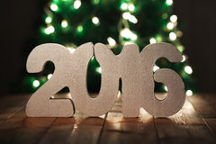 2016 на предпосылке деревянного стола, шаблоне Нового Года Стоковое фото RF