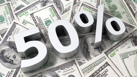 50% на предпосылке доллара Стоковые Фотографии RF