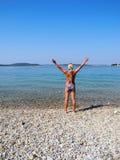 На пляже Стоковые Изображения