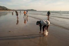 На пляже locals Стоковое Изображение