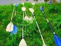 На речном береге весла от каяка Летние каникулы на каное и каяках стоковое изображение