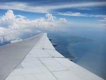 На самолете над Бали Стоковое Фото