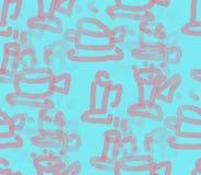 На сини предпосылка покрасила чашки и поддонники Стоковые Фотографии RF