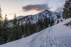 На следах снега hikers и лыжников в горах на восходе солнца Стоковое фото RF