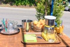 На солнечный день таблица с vozhmylkoy апельсинами и лимонами Стоковое фото RF