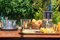На солнечный день таблица с vozhmylkoy апельсинами и лимонами Стоковые Изображения