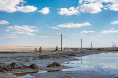 На солёном озере Baskunchak, 12-ое июля 2015 Стоковое Фото