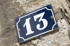 13 на стене Стоковое Изображение
