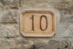 10 на стене Стоковая Фотография