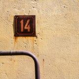14 на стене Стоковые Изображения