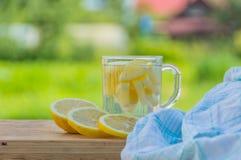 На таблице в воде лимона питья лета Стоковое Изображение