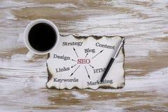 На таблице кусок бумаги и текст SEO - opti поисковой системы Стоковое Изображение RF