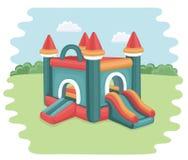 Надувной замок в парке Стоковые Фотографии RF