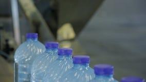 На фабрике бутылки с чистой водой транспортированы вдоль транспортера видеоматериал