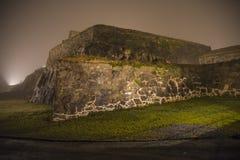 На fredriksten крепость в тумане и темноте Стоковые Фотографии RF