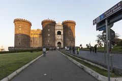 Неаполь, замок, Maschio Angioino стоковое фото