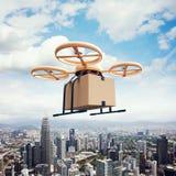 Неба летания трутня воздуха дистанционного управления дизайна фото коробка ремесла желтого родового пустая под городской поверхно Стоковое Изображение RF