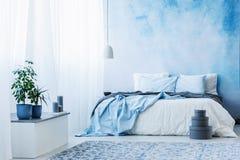 Небесно-голубой интерьер спальни с двуспальной кроватью, заводами и серыми коробками стоковые изображения rf